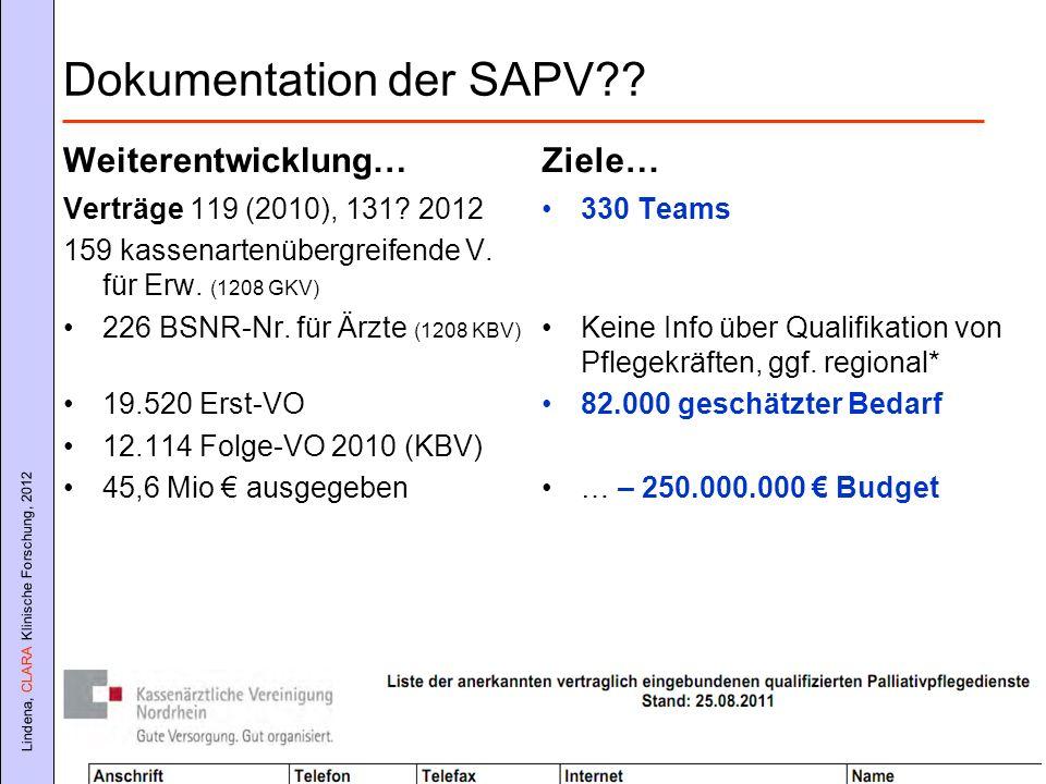 Dokumentation der SAPV