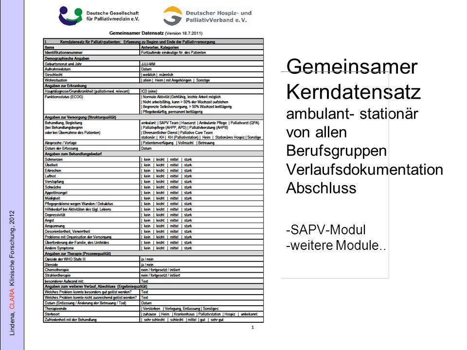 Gemeinsamer Kerndatensatz ambulant- stationär von allen Berufsgruppen Verlaufsdokumentation Abschluss -SAPV-Modul -weitere Module..