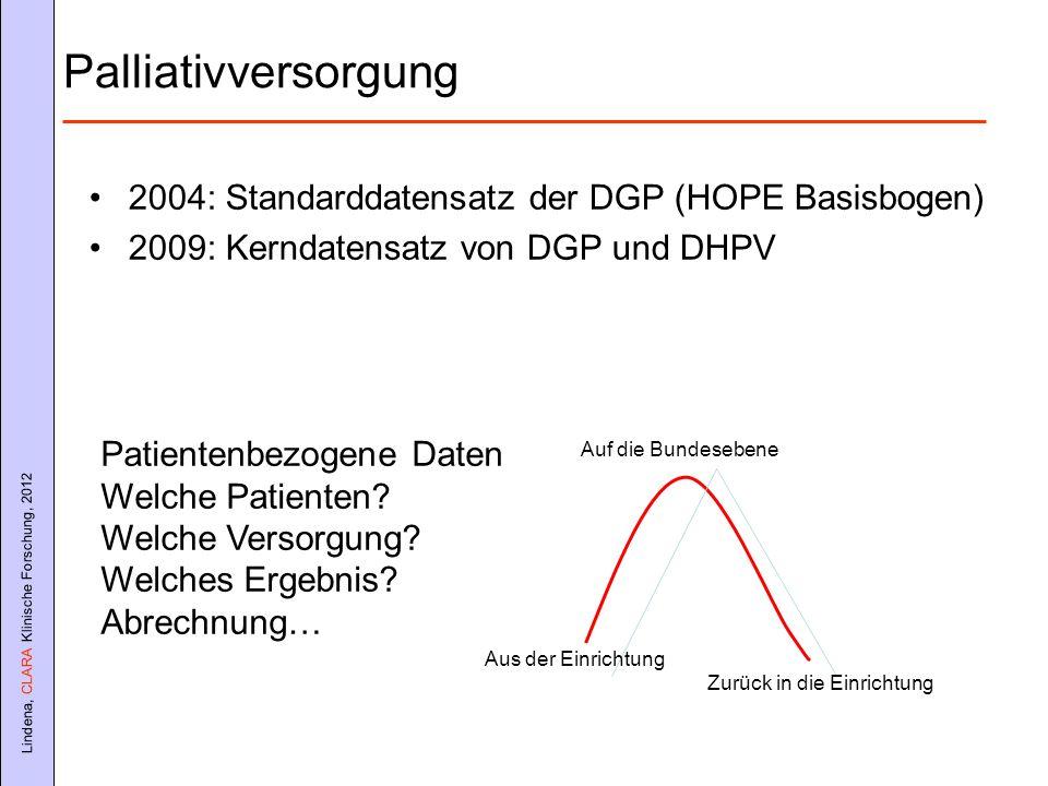 Palliativversorgung 2004: Standarddatensatz der DGP (HOPE Basisbogen)