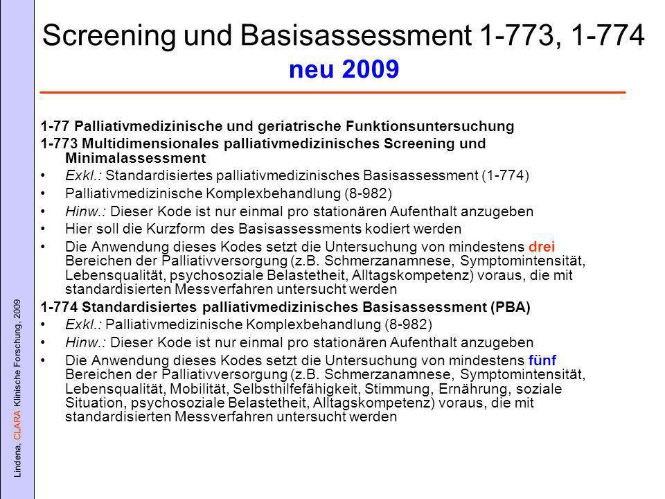 Screening und Basisassessment 1-773, 1-774 neu 2009