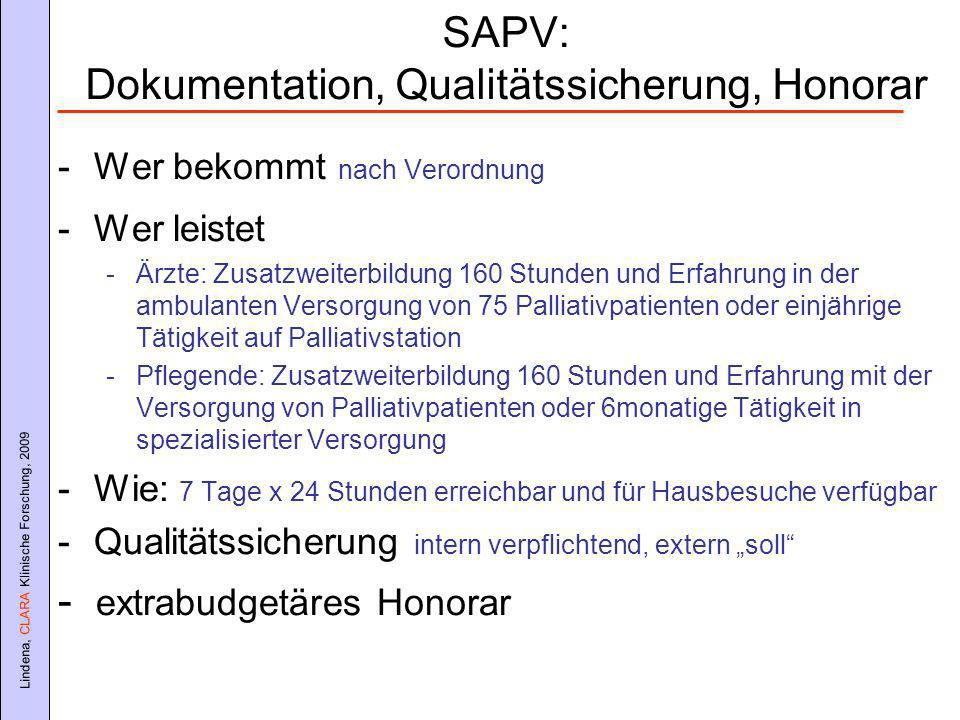 SAPV: Dokumentation, Qualitätssicherung, Honorar