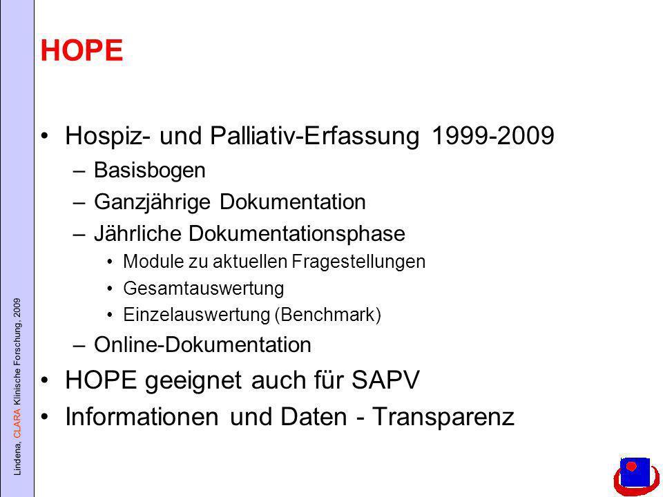 HOPE Hospiz- und Palliativ-Erfassung 1999-2009