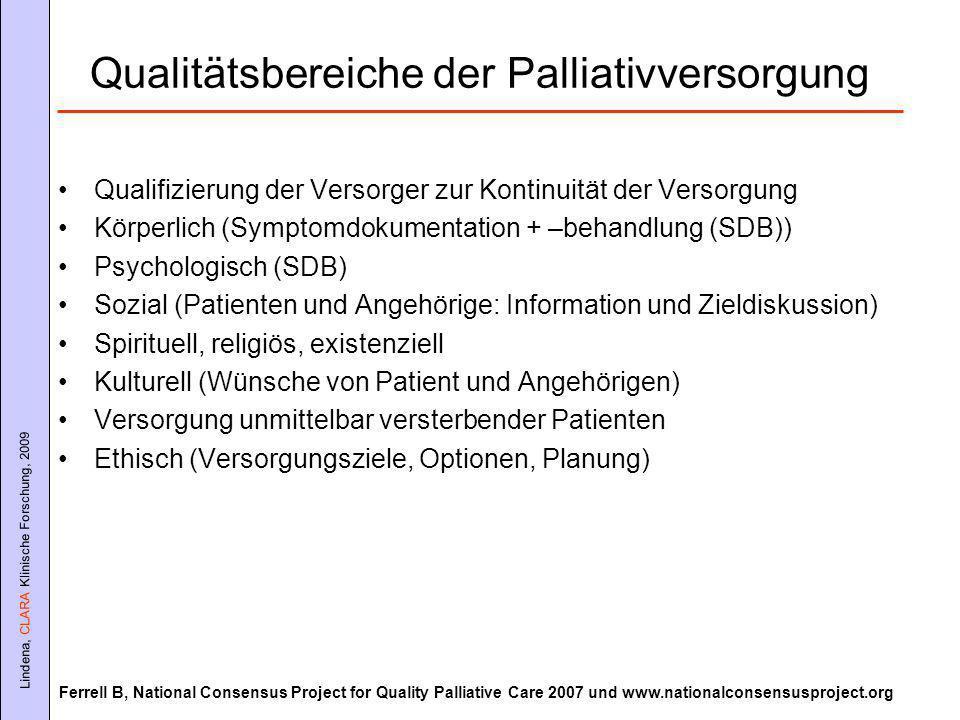 Qualitätsbereiche der Palliativversorgung