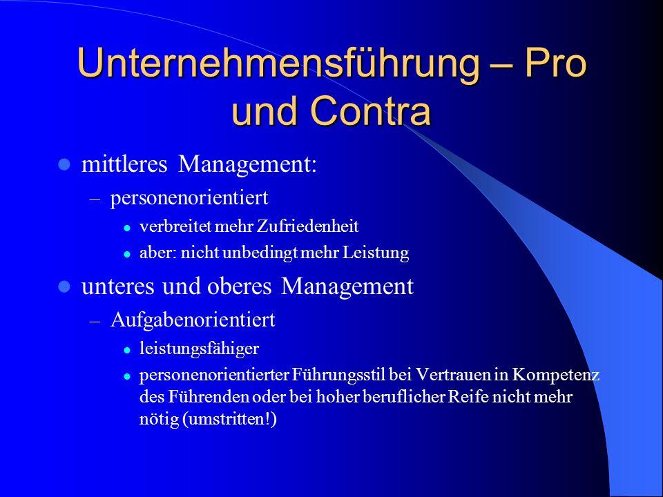 Unternehmensführung – Pro und Contra