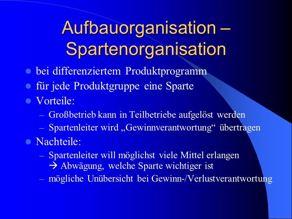 Aufbauorganisation – Spartenorganisation