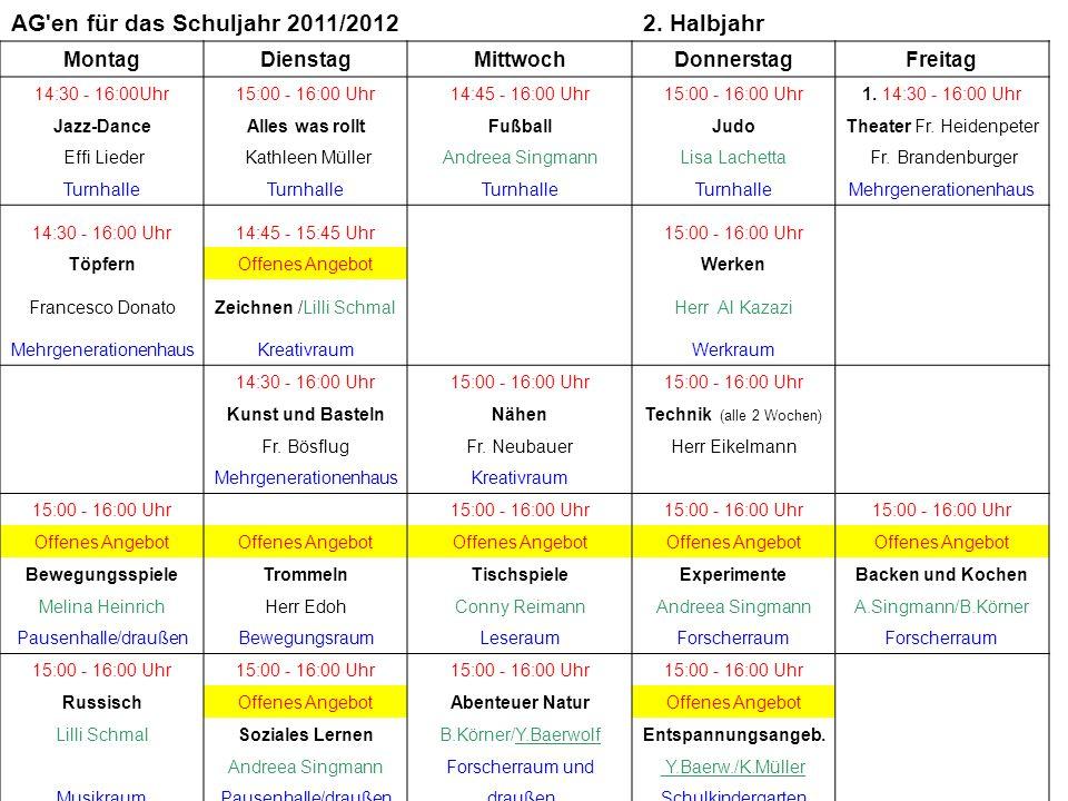 AG en für das Schuljahr 2011/2012 2. Halbjahr