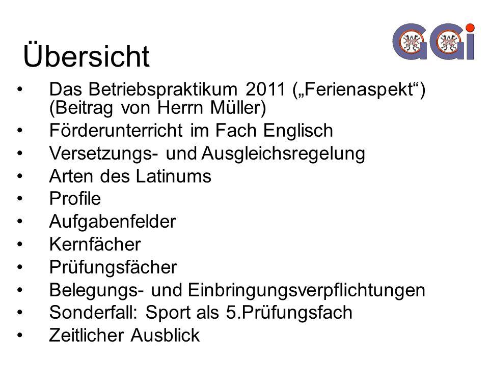 """Übersicht Das Betriebspraktikum 2011 (""""Ferienaspekt ) (Beitrag von Herrn Müller) Förderunterricht im Fach Englisch."""