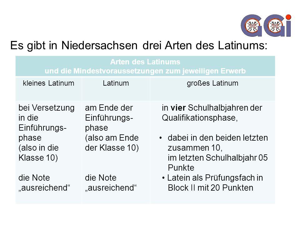 Es gibt in Niedersachsen drei Arten des Latinums: