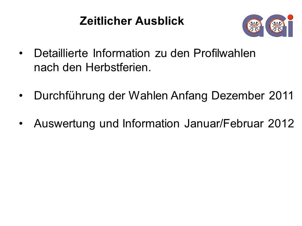 Zeitlicher Ausblick Detaillierte Information zu den Profilwahlen nach den Herbstferien. Durchführung der Wahlen Anfang Dezember 2011.