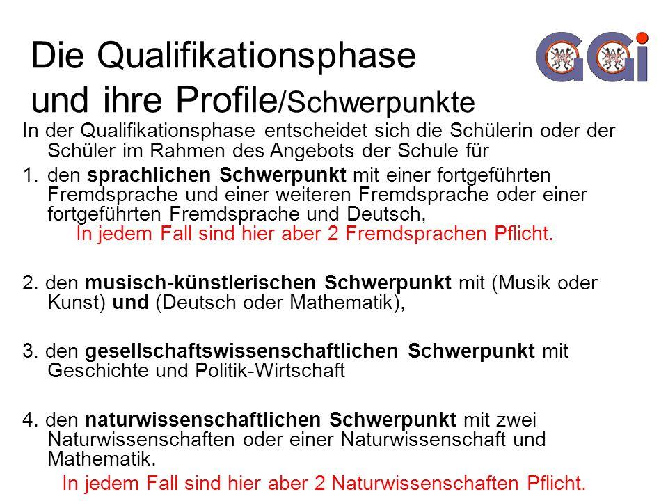 Die Qualifikationsphase und ihre Profile/Schwerpunkte