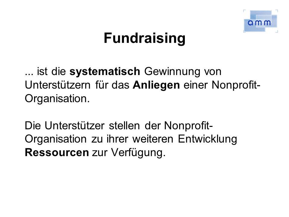 Fundraising ... ist die systematisch Gewinnung von Unterstützern für das Anliegen einer Nonprofit-Organisation.