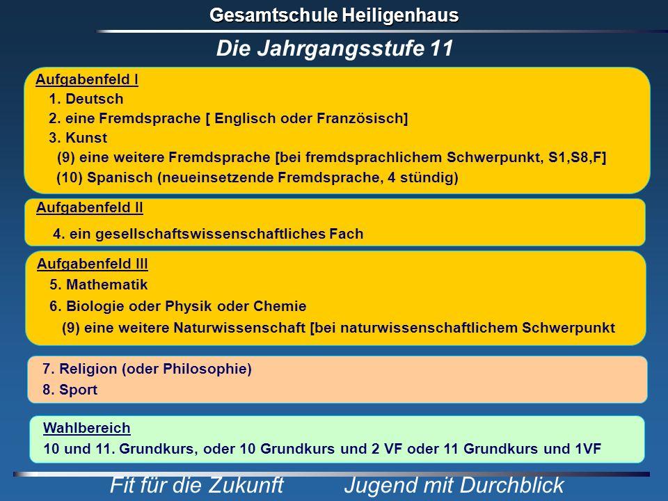 Die Jahrgangsstufe 11 Aufgabenfeld I 1. Deutsch