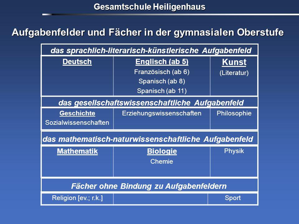 Aufgabenfelder und Fächer in der gymnasialen Oberstufe