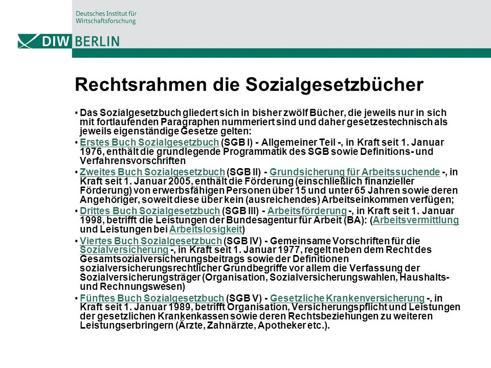 Rechtsrahmen die Sozialgesetzbücher