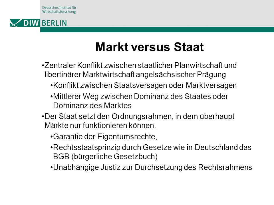 Markt versus Staat Zentraler Konflikt zwischen staatlicher Planwirtschaft und libertinärer Marktwirtschaft angelsächsischer Prägung.