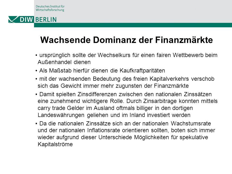 Wachsende Dominanz der Finanzmärkte
