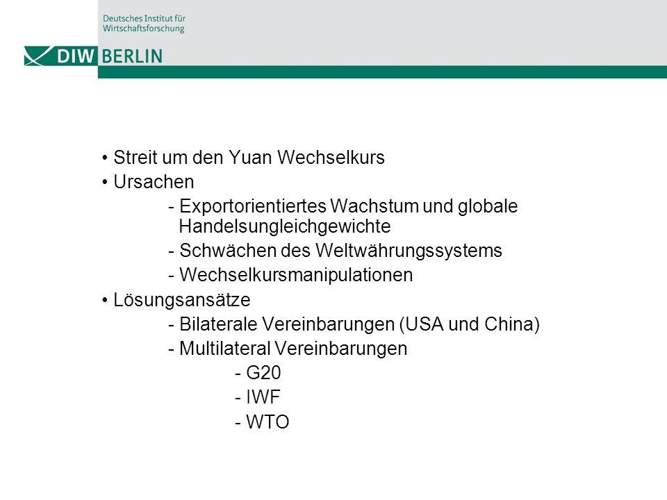 Streit um den Yuan Wechselkurs