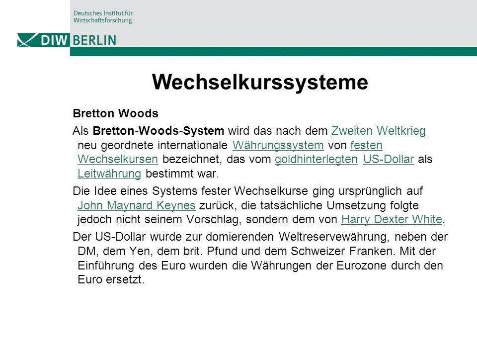 Wechselkurssysteme Bretton Woods