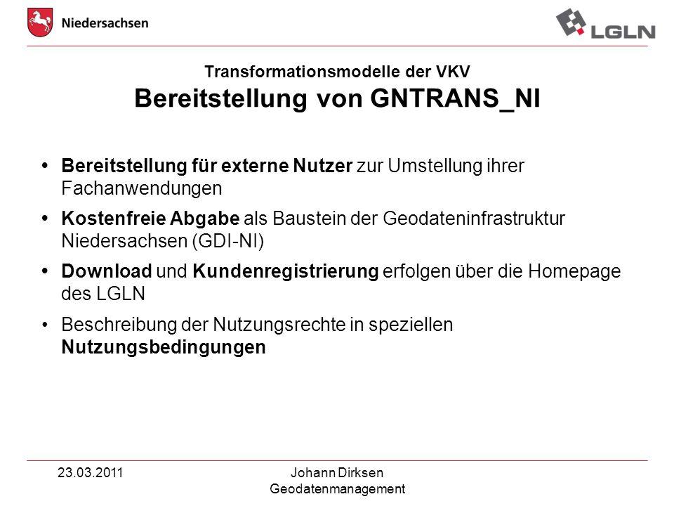 Transformationsmodelle der VKV Bereitstellung von GNTRANS_NI