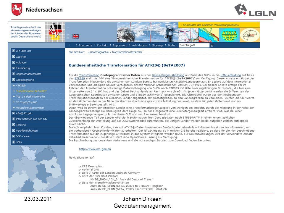 23.03.2011 Johann Dirksen Geodatenmanagement
