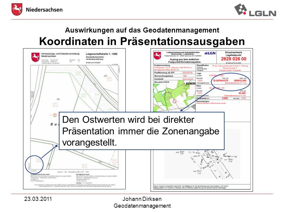 Auswirkungen auf das Geodatenmanagement Koordinaten in Präsentationsausgaben