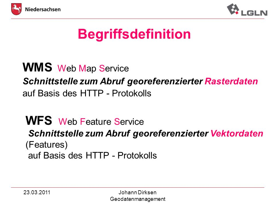 Begriffsdefinition WFS Web Feature Service WMS Web Map Service