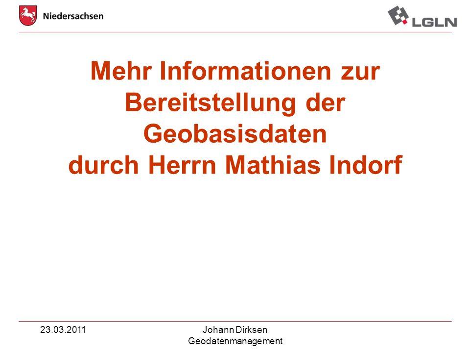 Mehr Informationen zur Bereitstellung der Geobasisdaten durch Herrn Mathias Indorf