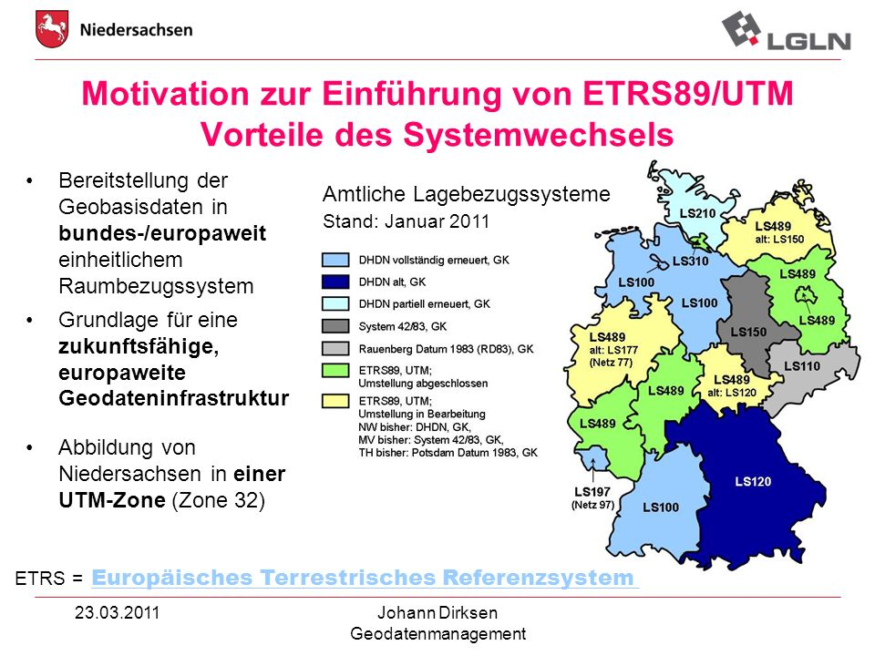 Motivation zur Einführung von ETRS89/UTM Vorteile des Systemwechsels