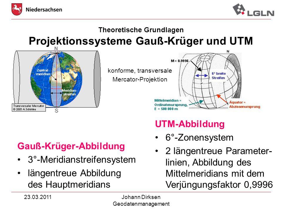 Theoretische Grundlagen Projektionssysteme Gauß-Krüger und UTM