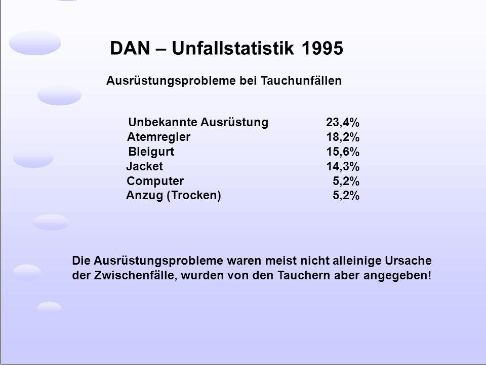 DAN – Unfallstatistik 1995 Ausrüstungsprobleme bei Tauchunfällen