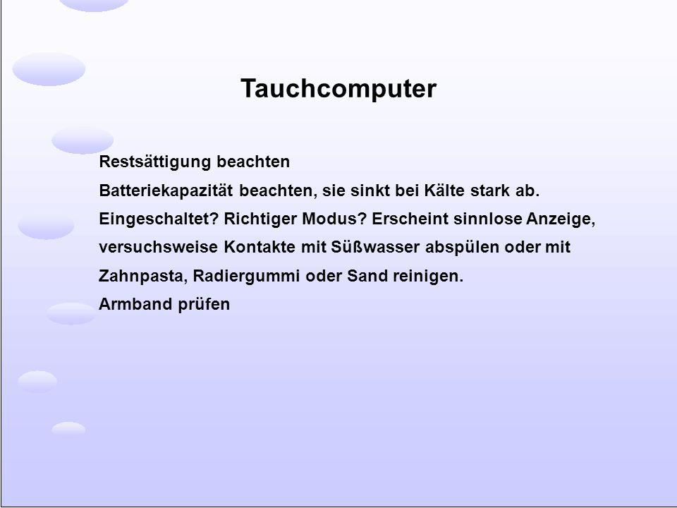 Tauchcomputer Restsättigung beachten