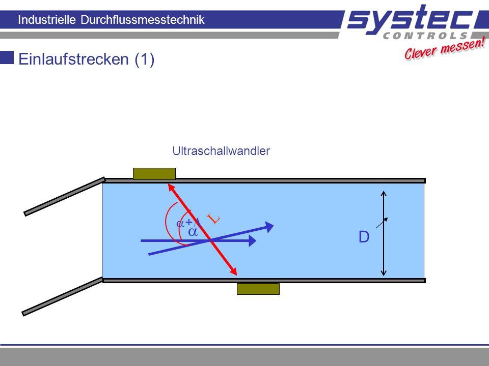 Einlaufstrecken (1) L  D +∆ Ultraschallwandler