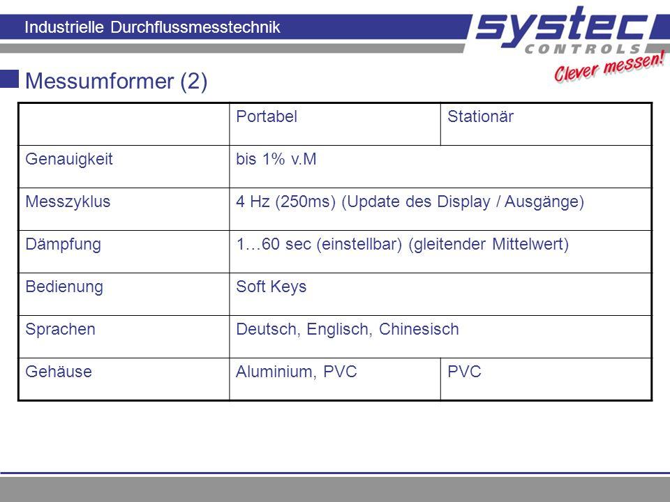 Messumformer (2) Portabel Stationär Genauigkeit bis 1% v.M Messzyklus