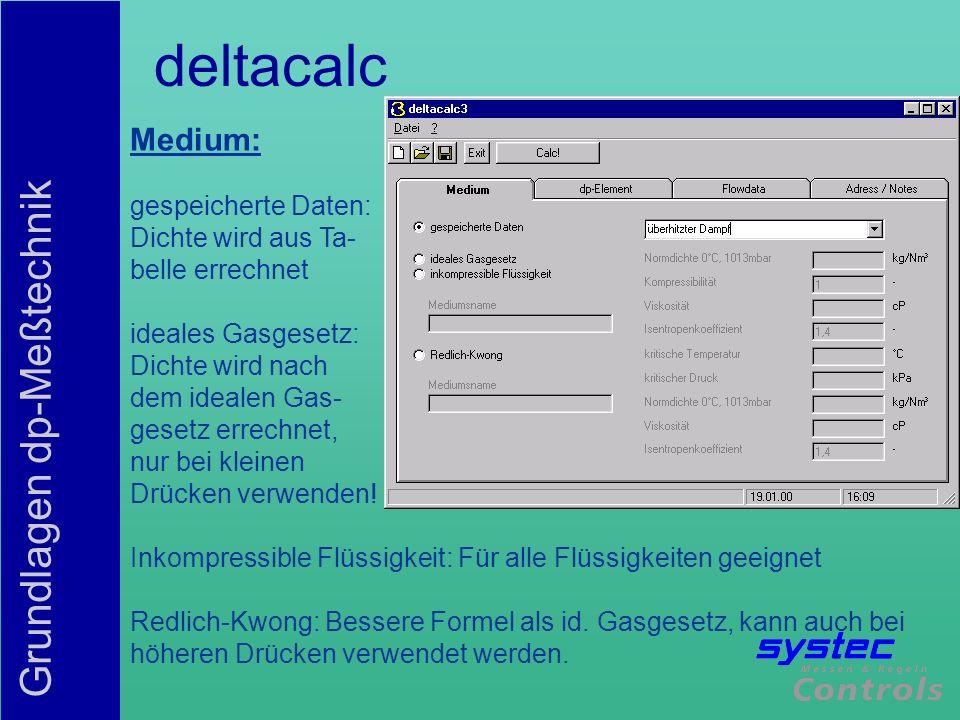 deltacalc Medium: gespeicherte Daten: Dichte wird aus Ta-