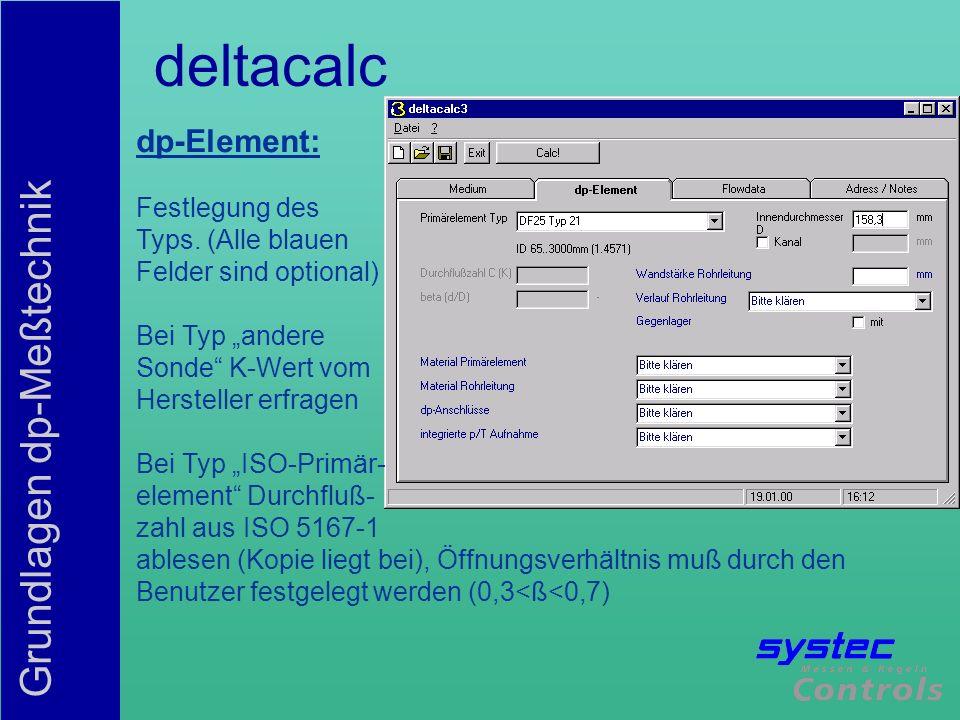 deltacalc dp-Element: Festlegung des Typs. (Alle blauen