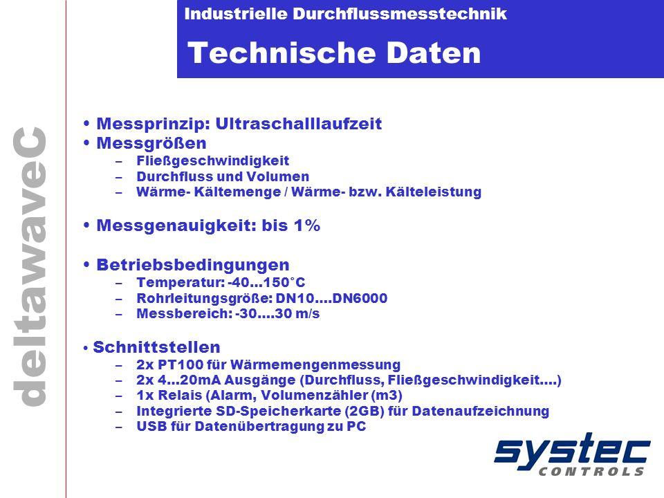 Technische Daten Messprinzip: Ultraschalllaufzeit Messgrößen