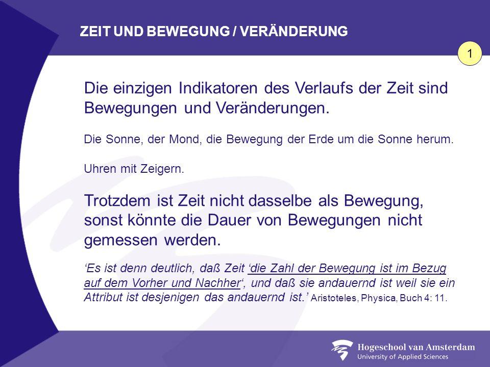 ZEIT UND BEWEGUNG / VERÄNDERUNG
