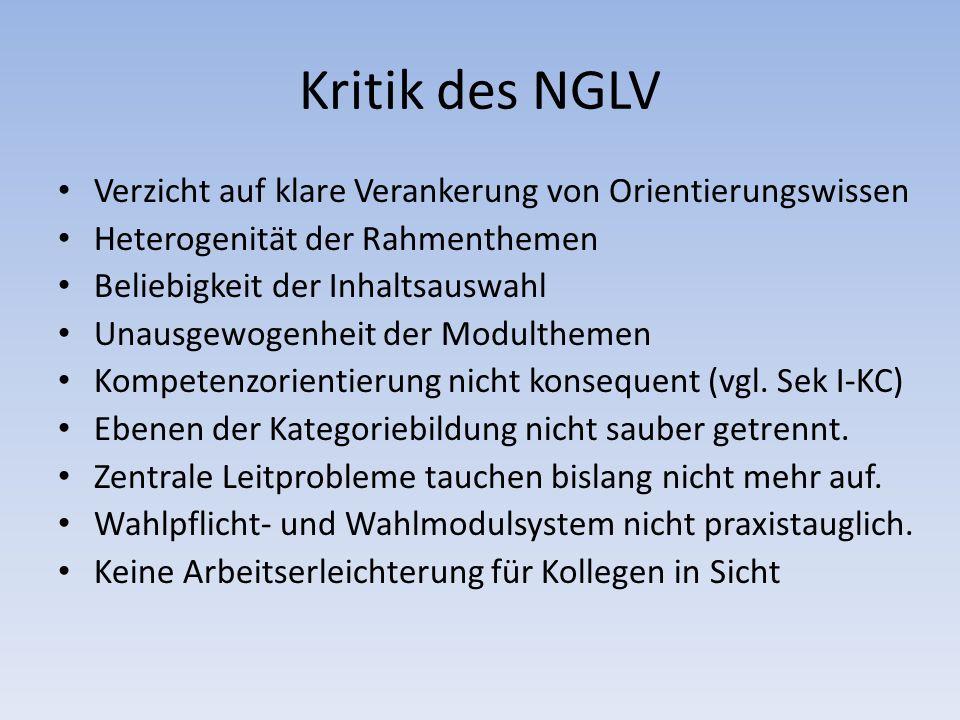 Kritik des NGLV Verzicht auf klare Verankerung von Orientierungswissen