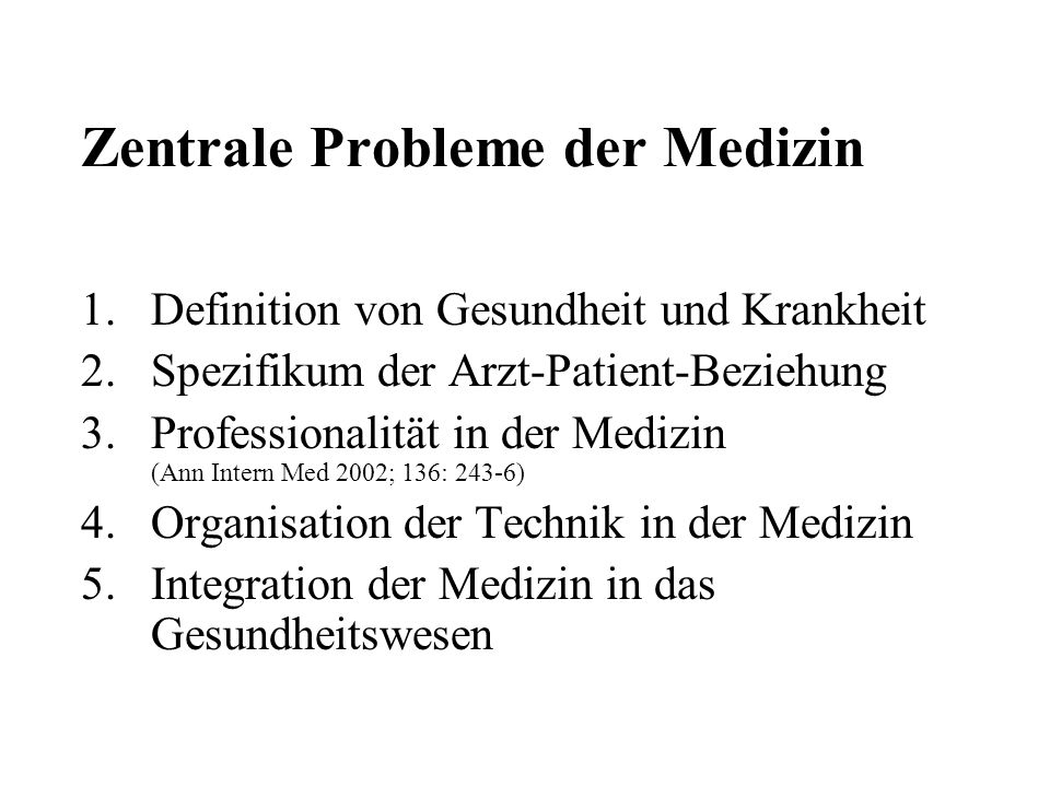 Zentrale Probleme der Medizin