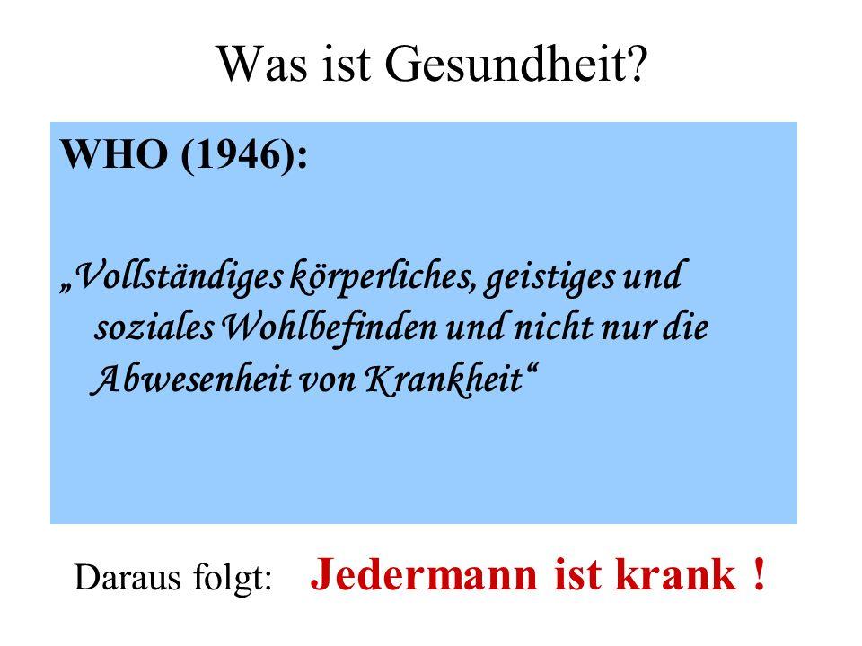 Was ist Gesundheit WHO (1946):