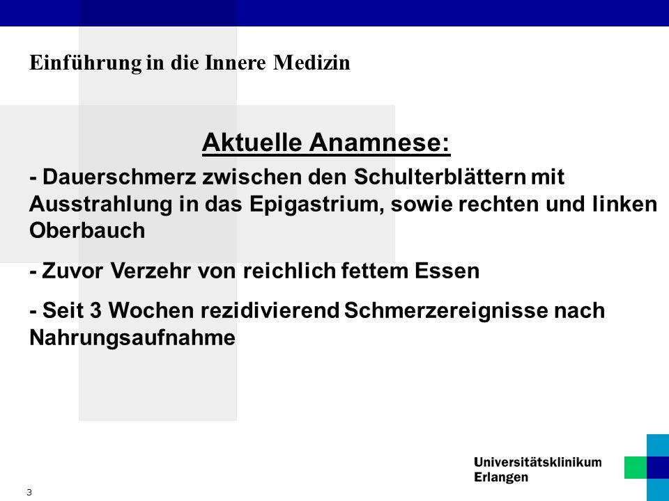Aktuelle Anamnese: Einführung in die Innere Medizin