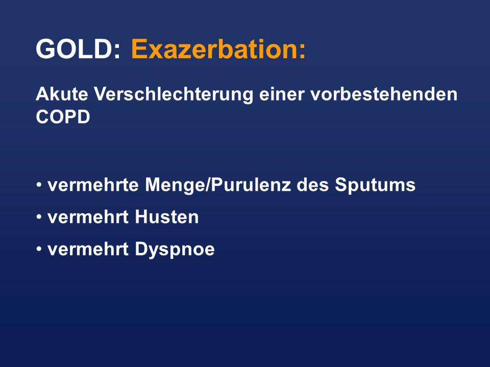 GOLD: Exazerbation: Akute Verschlechterung einer vorbestehenden COPD