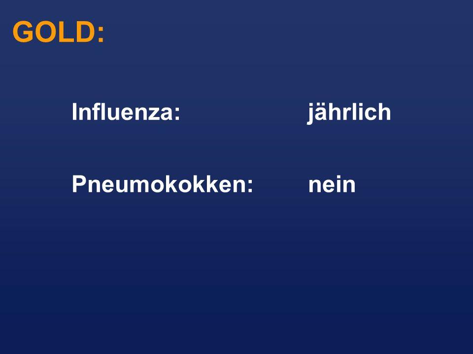 GOLD: Influenza: jährlich Pneumokokken: nein
