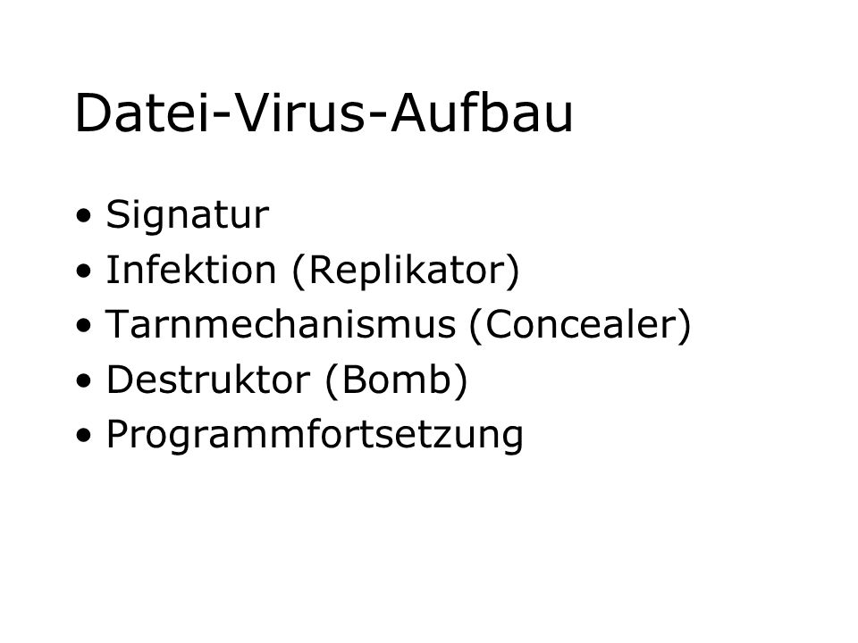 Datei-Virus-Aufbau Signatur Infektion (Replikator)