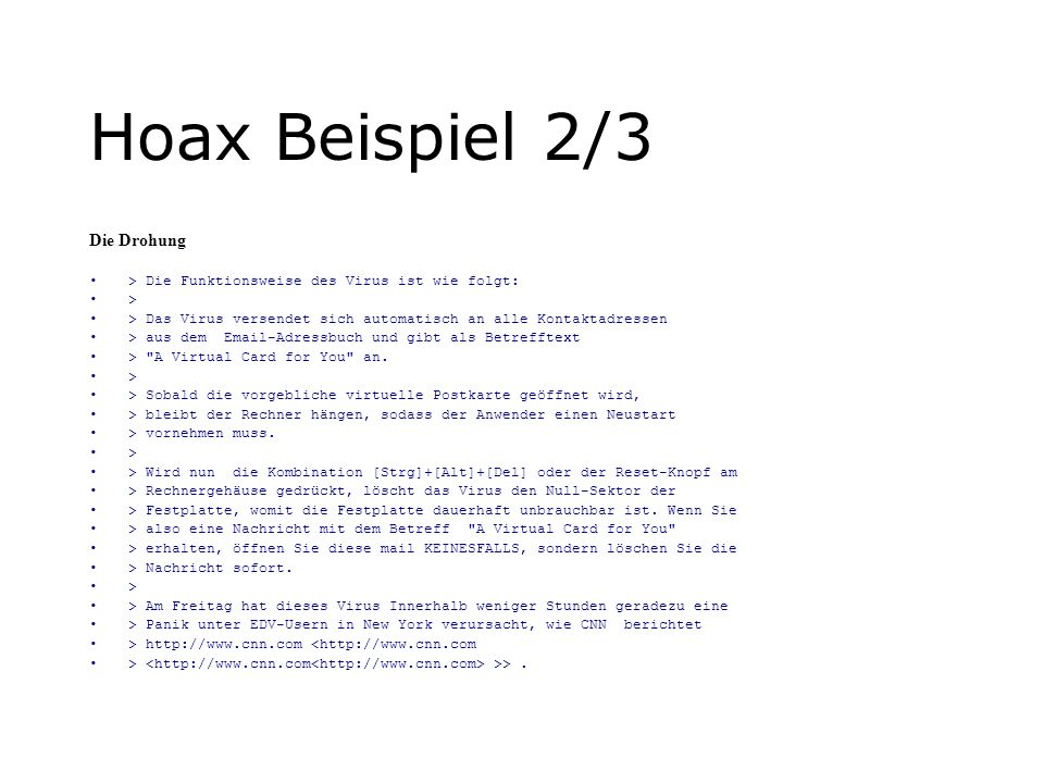 Hoax Beispiel 2/3 Die Drohung