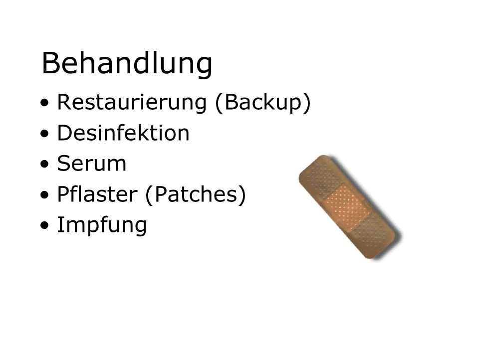 Behandlung Restaurierung (Backup) Desinfektion Serum