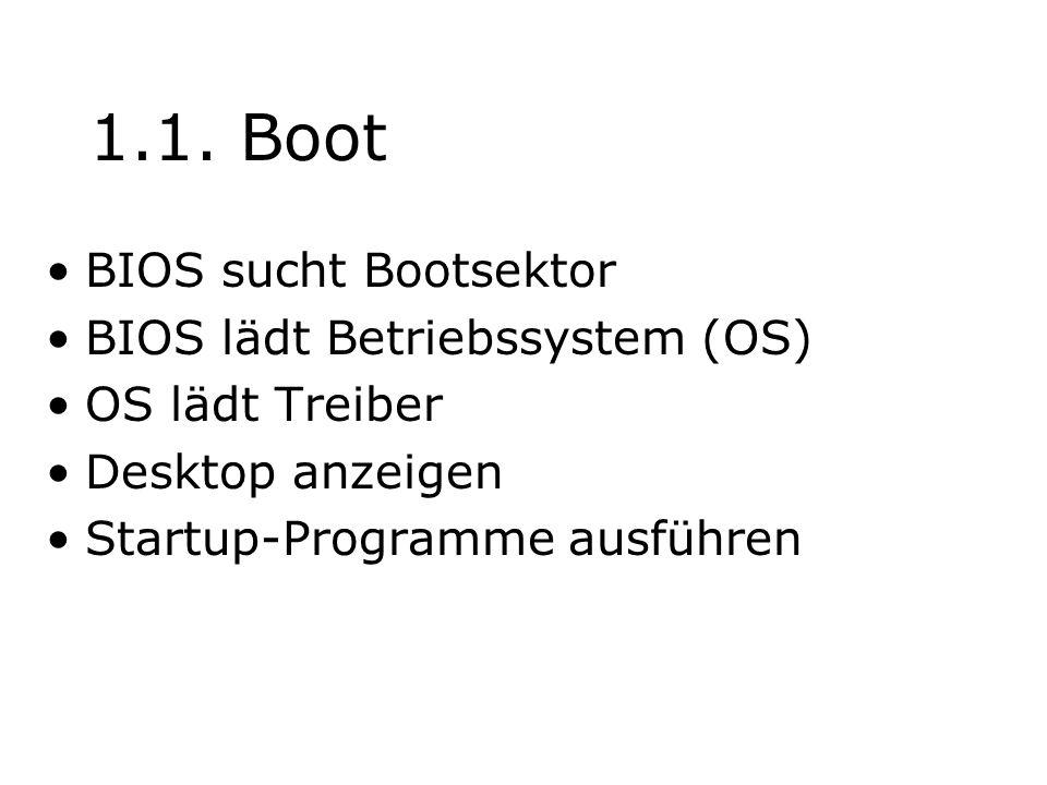 1.1. Boot BIOS sucht Bootsektor BIOS lädt Betriebssystem (OS)