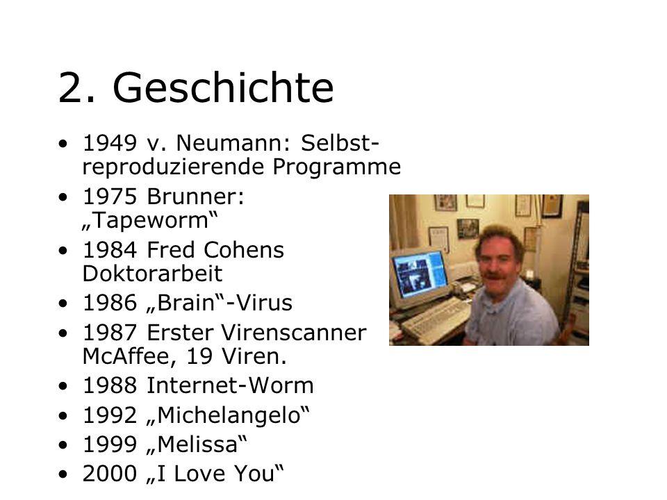 2. Geschichte 1949 v. Neumann: Selbst-reproduzierende Programme