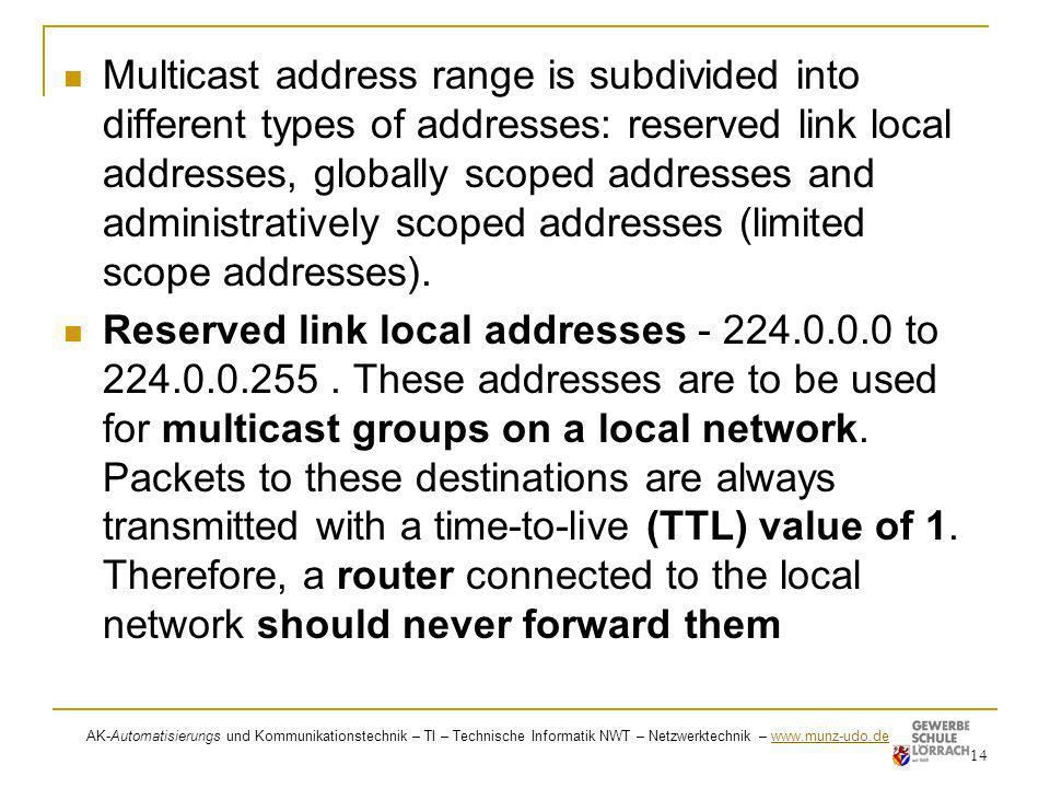 Multicast address range is subdivided into different types of addresses: reserved link local addresses, globally scoped addresses and administratively scoped addresses (limited scope addresses).