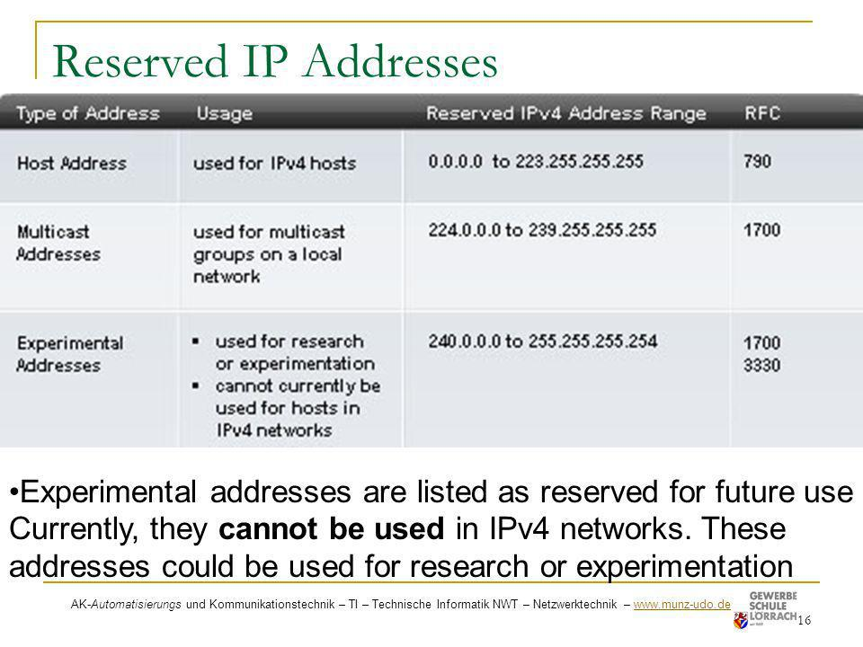 Reserved IP Addresses Experimental addresses are listed as reserved for future use . Currently, they cannot be used in IPv4 networks. These.